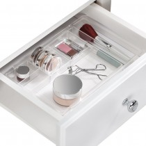 Interdesign, Linus Expandable Drawer Organizer, Clear Brushed Stainless Steel