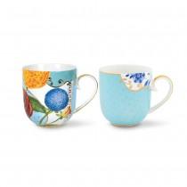 Pip Studio, Set of 2 Royal Flowers Mugs, Small, Blue