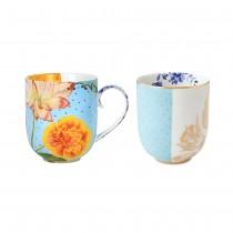 Pip Studio, Set of 2 Royal Flowers Mugs, Large, Blue
