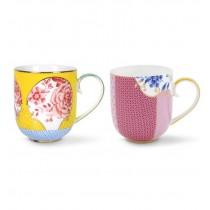 Pip Studio, Set of 2 Royal Mugs, Large, Yellow and Pink