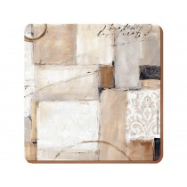 Creative Tops, Neutral Abstract Premium Cork-Backed Square Placemats, Wood, Brown, 4-Piece