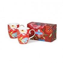 Pip Studio, Chinese Garden Set of 2Large Porcelain Mugs 350ml, RED