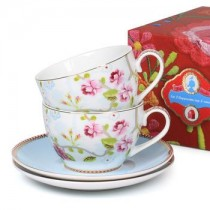 Pip Studio,  Set of 2 Chinese Porcelain Cups with Saucers