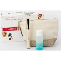 Clarins Eye Beauty Kit, Mascara Supra Volume 01 Intense Black 8ml+ Instant Eye Make-Up Remover 30ml+Pouch