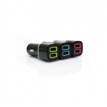 Iconz Universal Stylish Dual USB Car Charger 2.4A with Flat Rubberized Micro USB Cable 1m Black Blue
