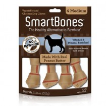 SmartBones Peanut Butter classic bone chews, Medium, 4 pieces