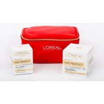 L'Oreal Age Perfect Gift Set, Age Perfect Day 50ml+Age Perfect Eye 15ml+Trendy Pouch