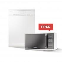 Samsung Dishwasher, Free Standing, 12 Settings, 3 Programs, White - DW60H3010FW/MA + FREE SOLO MICROWAVE (MS23K3513) 23 L