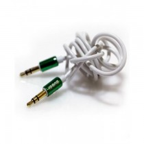 ICONZ Rubberized Jack AUX Cable with Chrome plug 1 m - Green