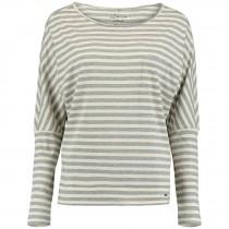 O'Neill, Women's Essential Striped Long Sleeve Top, White Aop w/ Grey