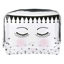 Miss Etoile, Cosmetic Clear Plastic Travel Bag Large Eyes and Dots, 15.5 x 12.5 cm