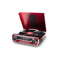 ION, MUSTANG LP  4 IN 1 CLASSIC TURNTABLE, Red