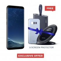 "Samsung Galaxy S8+ Single Sim/Dual Sim, 6.2"" Quad HD+ sAmoled, 64GB, 4GB RAM, 4G LTE - SM-G950FZKAMID With FREE Power Bank, Wireless Charger, Cover, Screen protector"