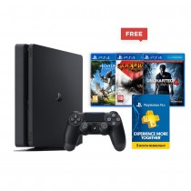 Sony Playstation 4, Slim, 500 GB, With Horizon Zero Dawn/Uncharted 4/God Of War 3 & 3 Months of Playstation Plus Subscription