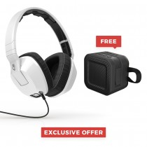 Skullcandy Crusher Over Ear Headset with Microphone, White with FREE SkullCandy Barricade