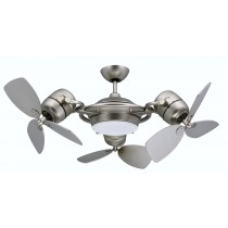 TriStar, Triple Motor Ceiling Fan with 3x18-Inch Blades, Light and Remote, Satin Steel Finish - VX-SF1860