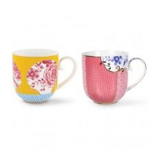 Pip Studio, Set of 2 Royal Mugs, Small, Yellow and Pink