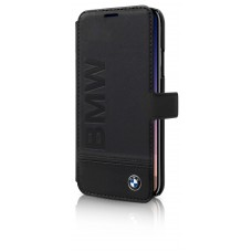 BMW Genuine Leather BookType Case with Imprint Logo for iPhone X - Black