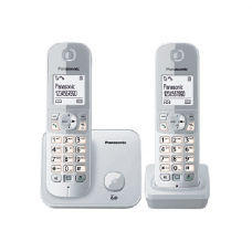 Panasonic Cordless Phone DECT, 100 Name & Number Phone book, Silver - KXTG6812BXB