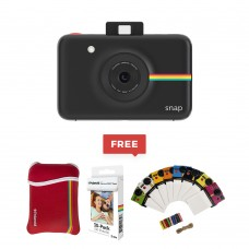 Polaroid Snap Instant Digital Camera with ZINK Zero Ink Printing Technology - Red/Blue/Black/White/Pink/Puple ZIP Bluetooth , NFC Mobile Printer App controlled- Black + Photo frame  + Pouch + Zink pack of 30